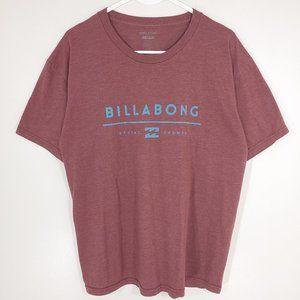 Billabong Soft Graphic T-Shirt Surf Waves Logo Maroon Men's Large